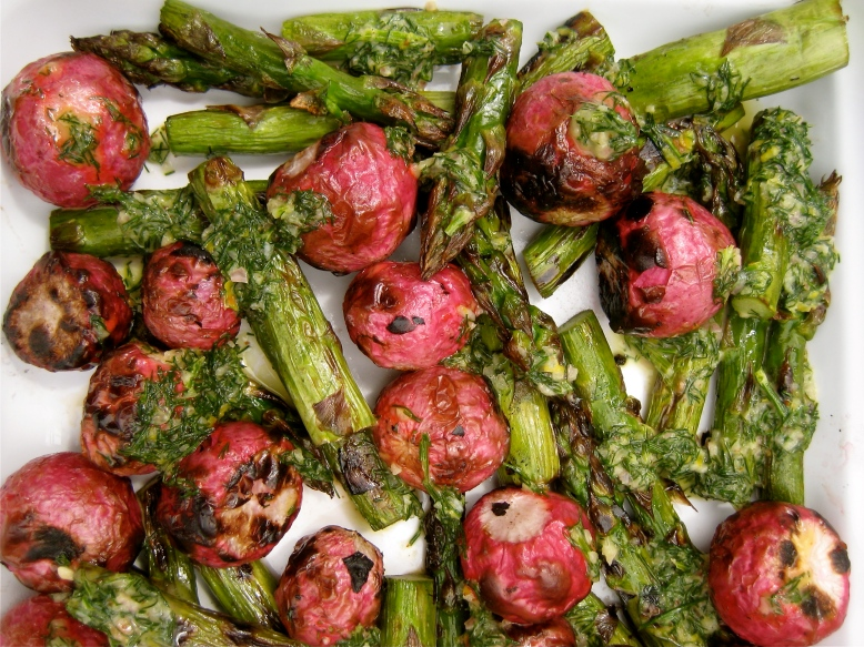 grilled radishes and asparagus with dill
