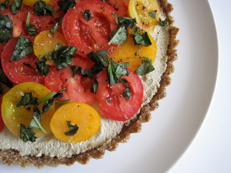 raw tomato sunflower tart