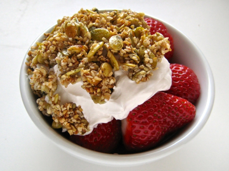 buckwheat granola whipped cream strawberries