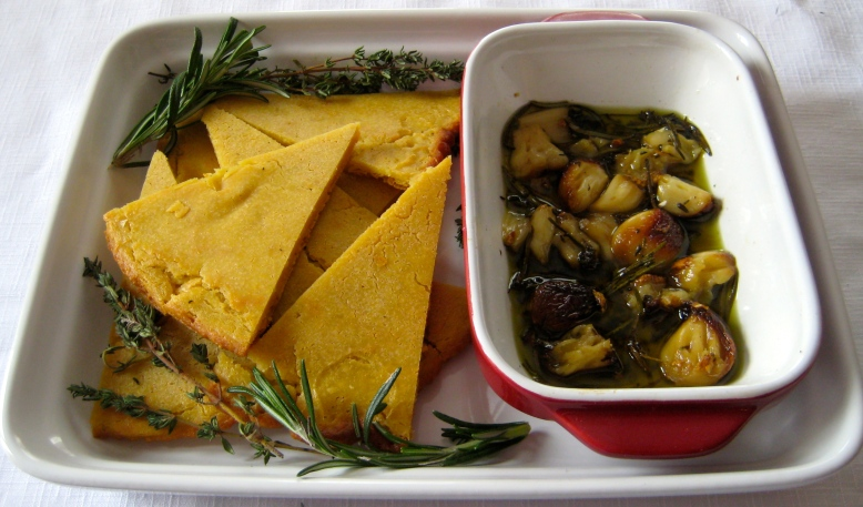 socca with roasted garlic and herbs