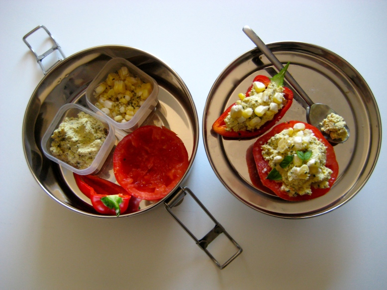 Stuffed Tomatoes and Peppers with Creamy Tofu, Fresh Corn, and Hempseeds 2