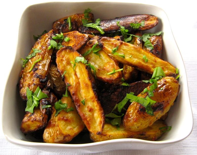maple-mustard roasted fingerlings