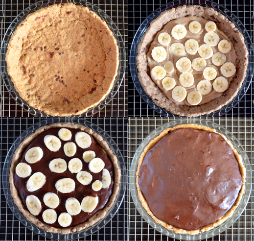 Banana-Tahini Carmel Chocolate Pudding Pie - step by step
