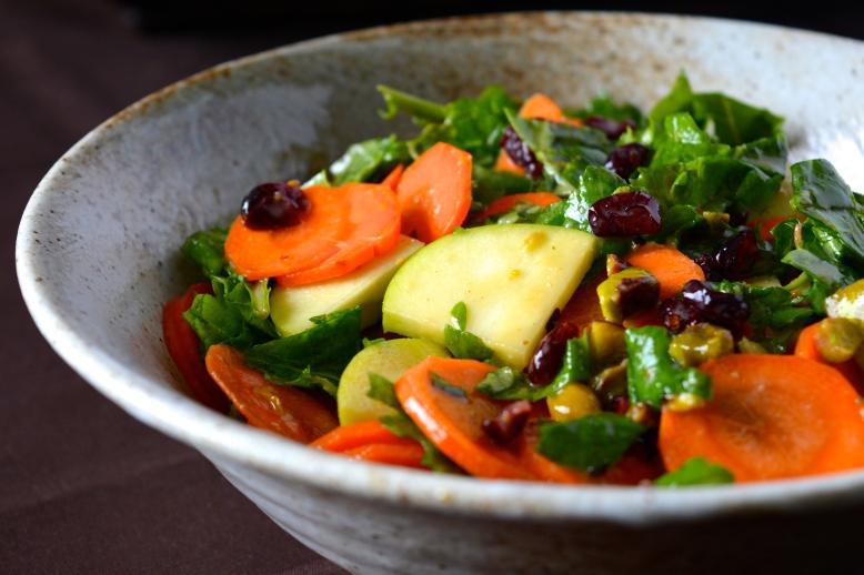 Carrot, Kale and Apple Salad with Maple-Tahini Vinaigrette