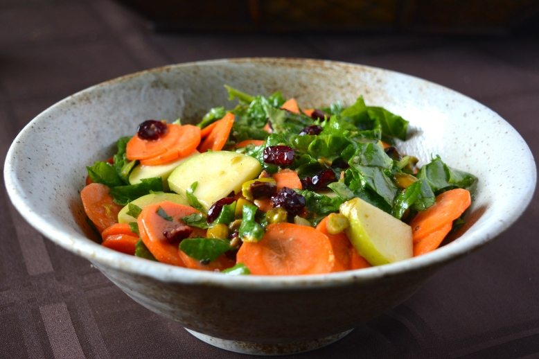 Carrot, Kale and Apple Salad with Maple-Tahini Vinaigrette2