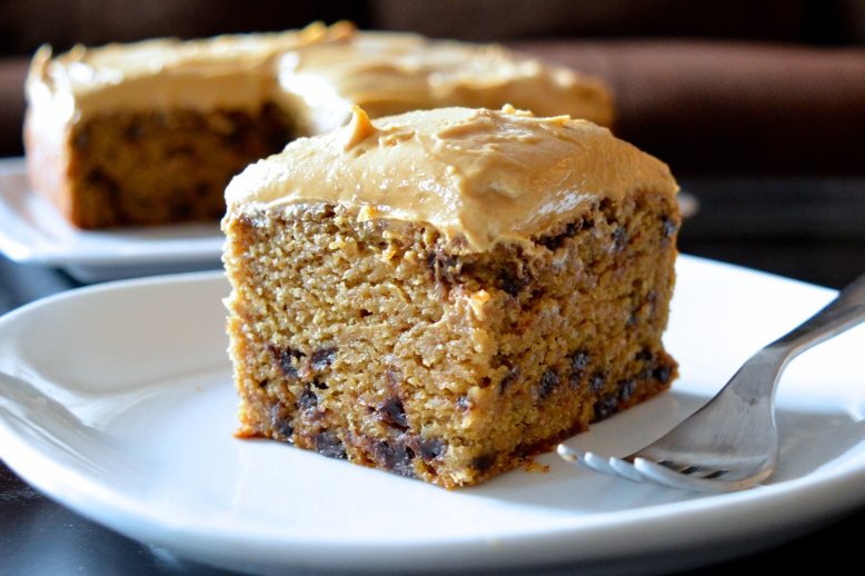 Banana Buckwheat Snack Cake with Peanut Butter Frosting
