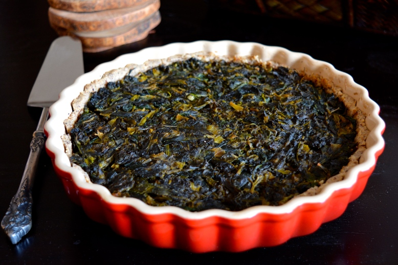 Greek Spinach and Kale Tart with Hazelnut Crust