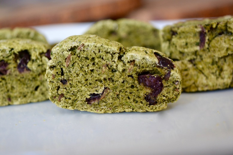 Savory Spinach, Caraway, Olive Biscotti Crackers